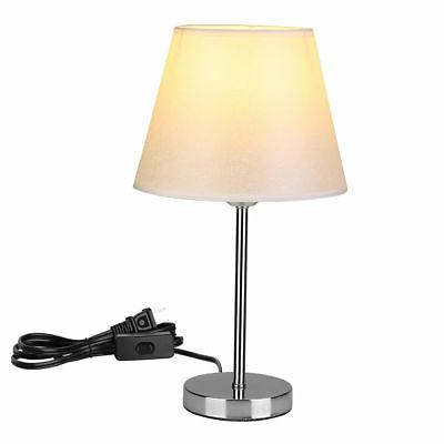Modern Stand Table Lamps Off-white Fabric Shade Bedroom Nigh