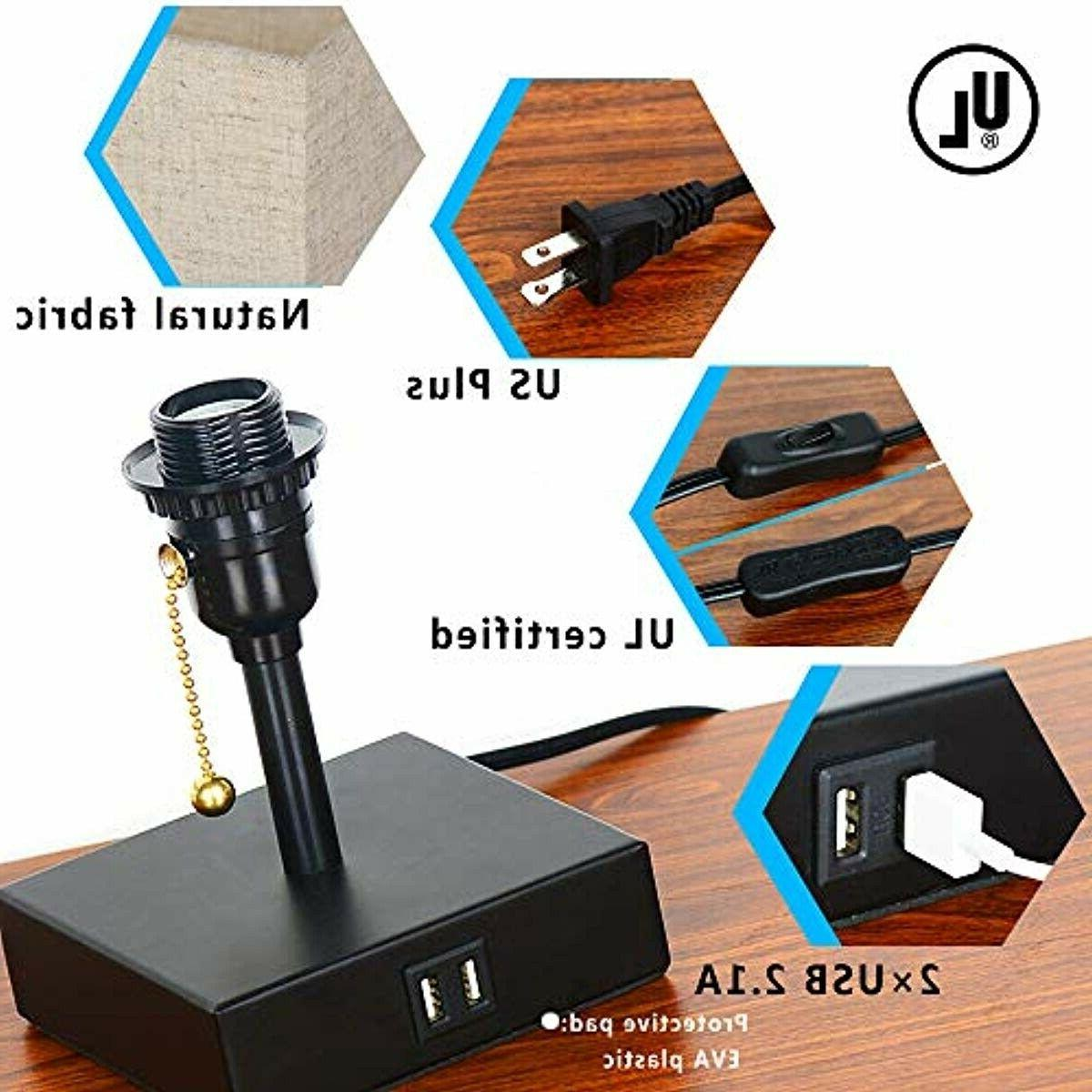 USB Desk Lamp, Acaxin Lamp Dual Charge Port, Wood