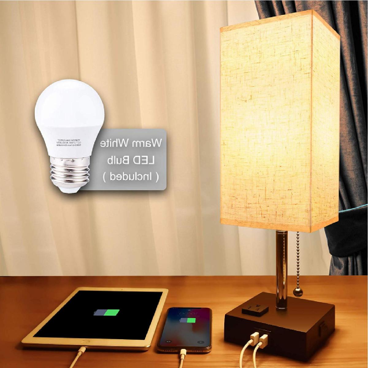 LED with Outlet & 2 – Modern Lamp, fabri