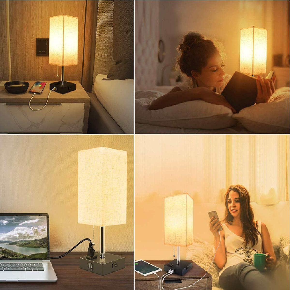 LED Bedside Table lamp with Outlet & USB – Modern Lamp, fabri