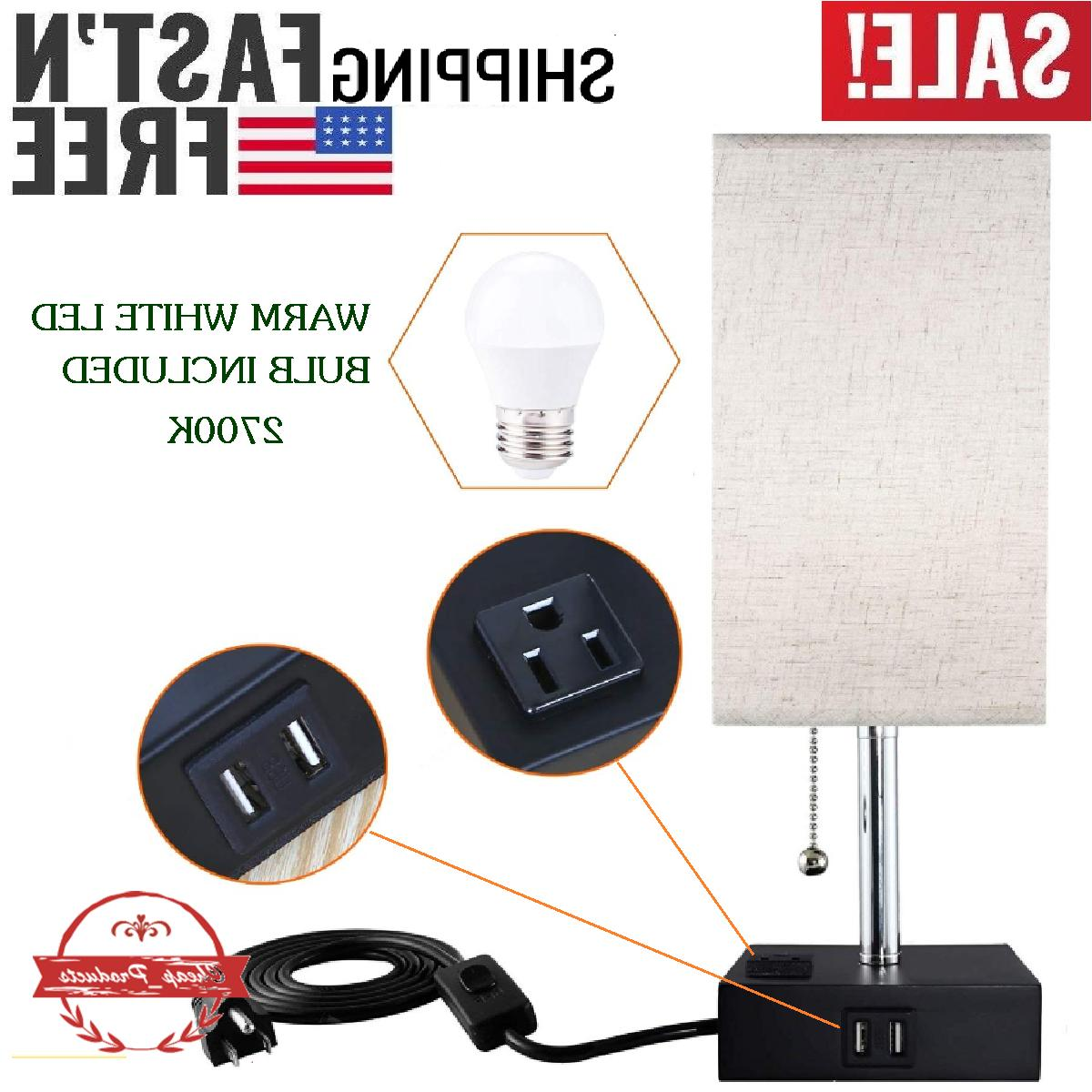 led bedside table lamp with 1 outlet