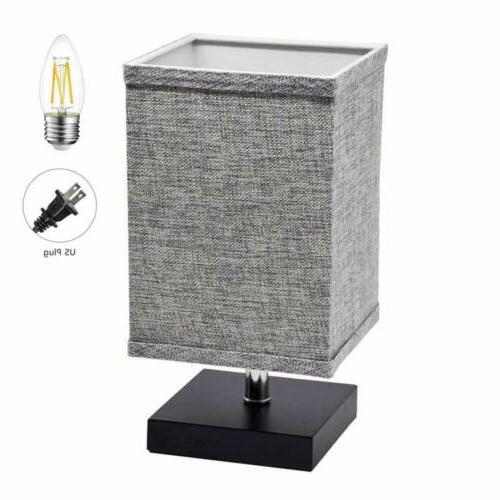 LED Fabric Bedside Table Nightstand Bedside Light