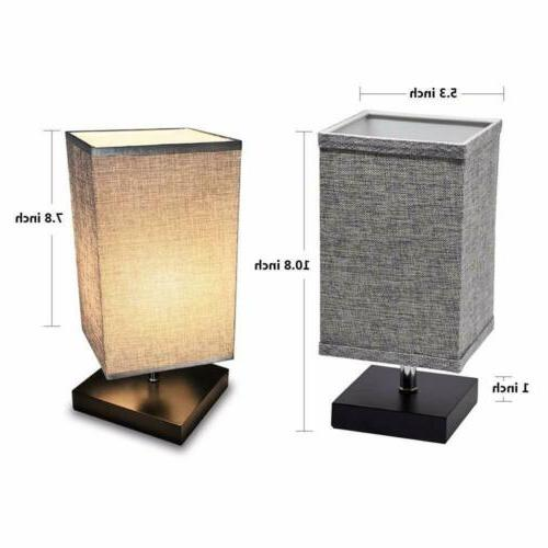 LED Fabric Nightstand Square Minimalist Bedside Desk Light