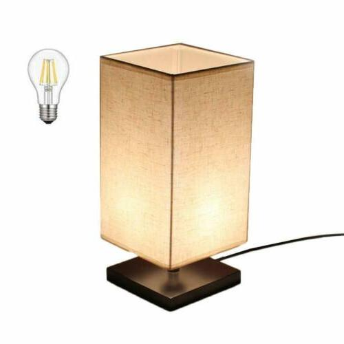 led fabric bedside table nightstand lamp square