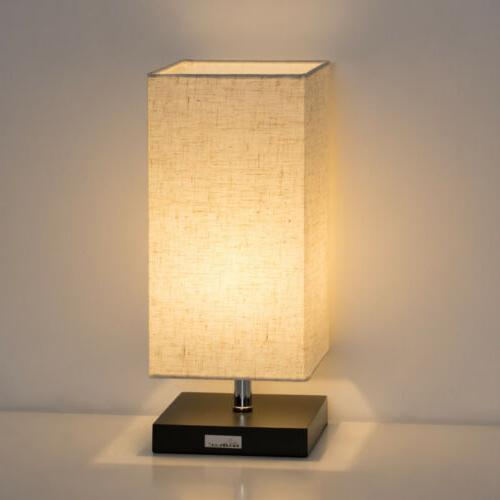 LED Lamp Desk Lamps with Flaxen Fabric Shade for Bedroom