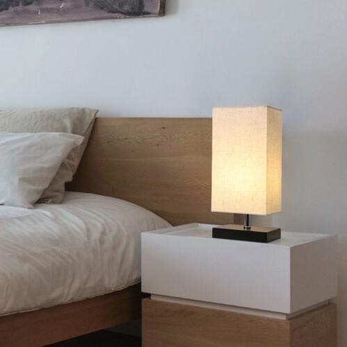LED Table Lamp Desk Flaxen Fabric Bedroom