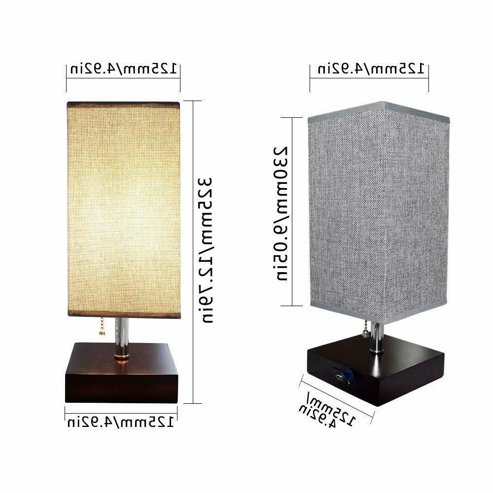 USB Wooden Bedside Table Lamp Desk Lamps Nightstand Lighting for