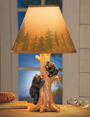 Lodge Cabin Black Bear Carved Tree Trunk Table Lamp Forest S