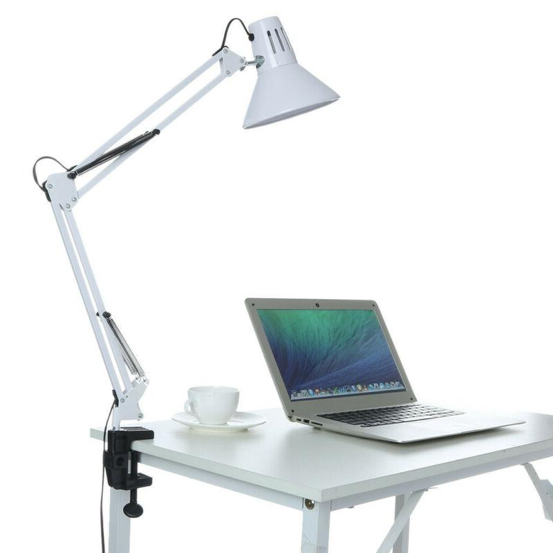 Arm Desk Table Lamp Work Reading Adjustable Folding Clip-on