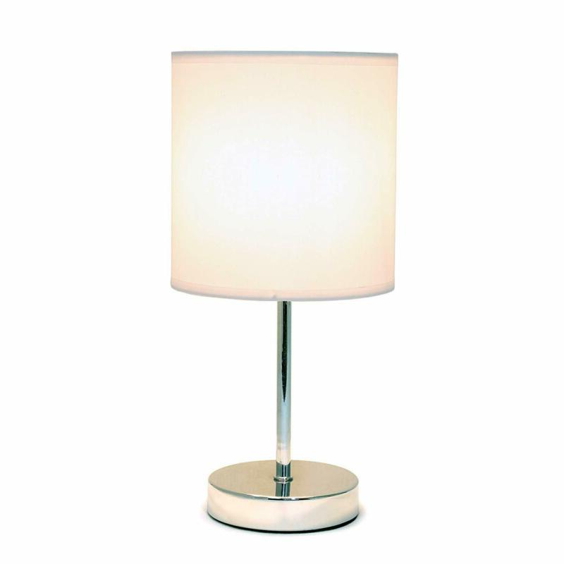 Simple Designs Home LT2007-WHT Mini Basic Lamp, White