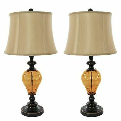 2 Piece Matching Amber Glass Table Lamp Set with Shades LED