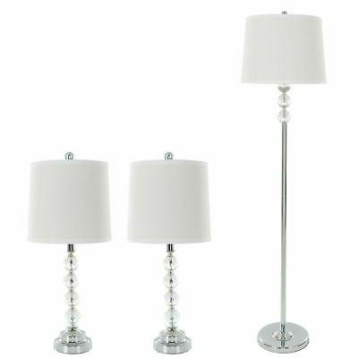 3 Piece Matching Faceted Crystal Table and Floor Lamp Set wi
