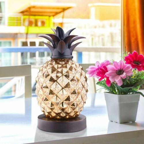 """9.7"""" Gold Glass Yellow Pineapple Bedside Table Lamp Desk Nig"""