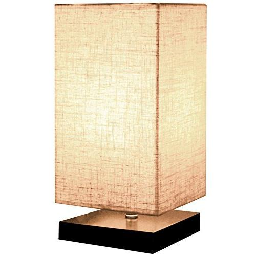Minerva Solid Wood Table Lamps, Linen Fabric Shade Bedroom,