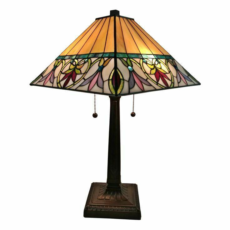 Mission Stained Glass Tiffany Style Table Lamp Desk Art Deco