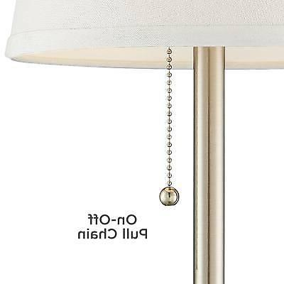 Modern Table Lamp with Outlet Brushed Steel for