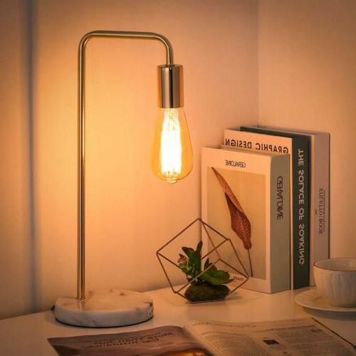 Simple Vintage Table Lamp with Marble Base and Metal Frame S