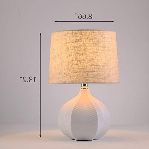 SOTTAE Ceramic White Stripes Bedside Table Lamp Linen Fabric Shade