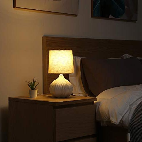 SOTTAE White Bedside Table Lamp With Shade