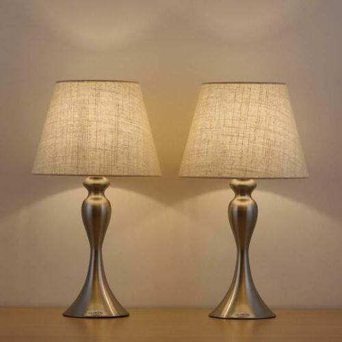 Pair of Table Lamps Bedside Lights Fabric Lampshade New for