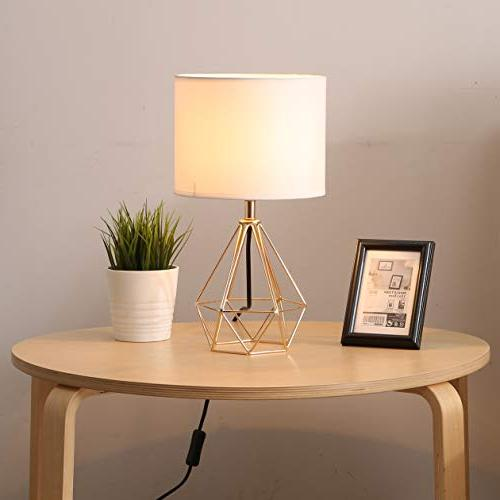 SOTTAE Modern Hollowed Out room Lamp, White Fabric Shade