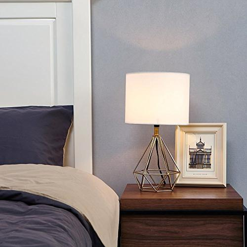 SOTTAE Modern Golden Hollowed room Bedroom Lamp, White Fabric Shade