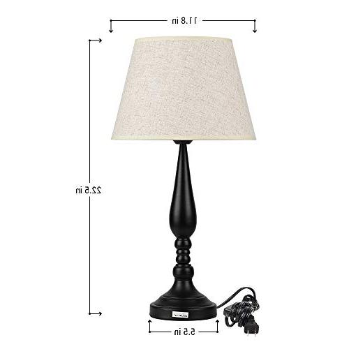 HAITRAL Modern Set Contemporary Table Lamps with Line Room Modern for Bedroom, Living Office, Ideal