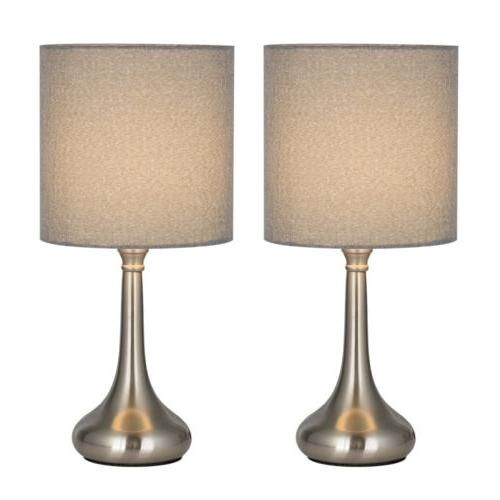 2 Lamp Modern Lights Fabric Shade Base