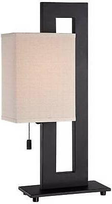 Modern Table Lamp Espresso Bronze Rectangular for Living Bedroom