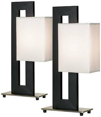 Modern Table Lamp Set of 2 Black Floating Square for Living