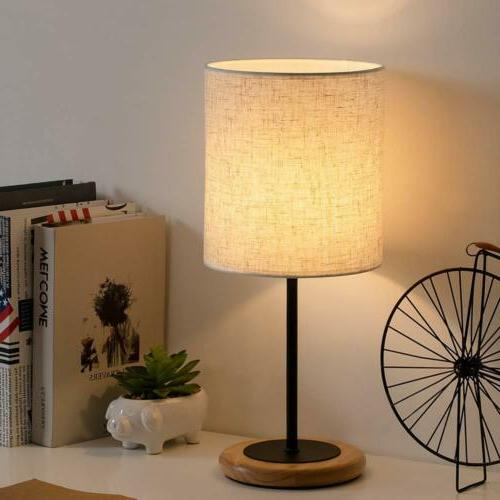 HAITRAL Modern Table Lamp with Linen Fabric Lamp Shade and W