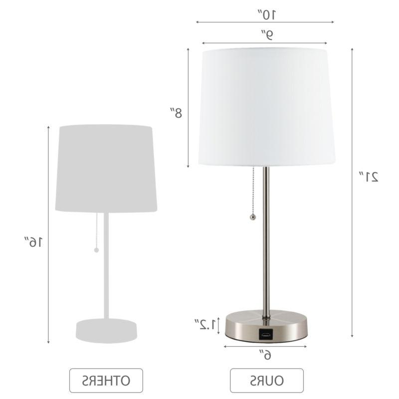 Modern Lamps of 2 Living Room Bedroom UL with USB Port
