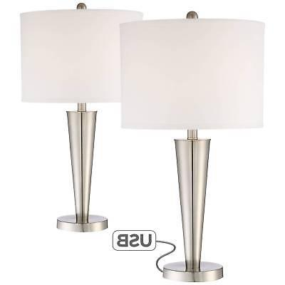 Modern Table Lamps Set of 2 with USB Brushed Steel for Livin