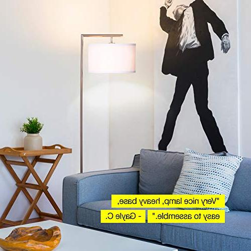 Brightech Floor Lamp - with Hanging Drum - Tall Downlight Bedrooms, Family Rooms, – with - Nickel
