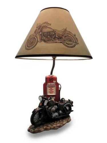 Motorcycle Bike and Gas Pump Station Figural Table Lamp w/ S