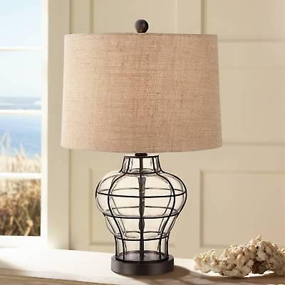 Nautical Table Lamp Clear Blown Glass Cage Burlap for Living