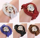 New Fashion Women Crystal Multilayer Leather Bracelet Quartz