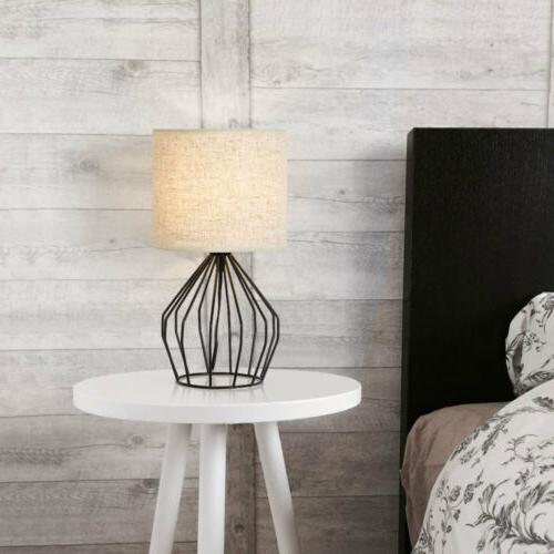 Nightstand Lamp Modern Style Black Hollowed with Linen