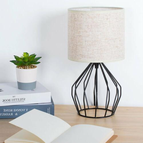 Nightstand Lamp Modern Black Hollowed with Linen