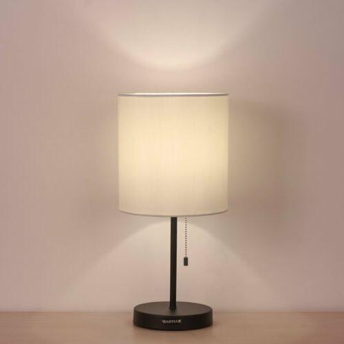 ninglights table lamp for bedroom fabric shade