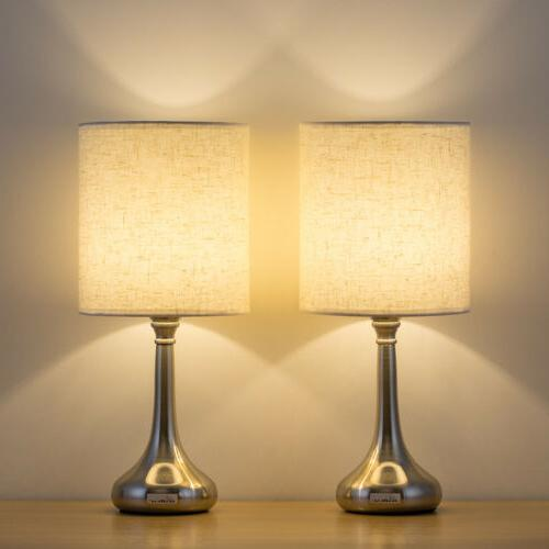 2 PCS HAITRAL Table Lamp  Desk Bedside Lights with Fabric Sh