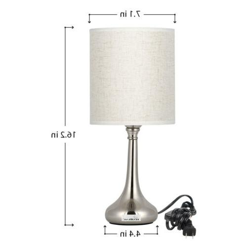 Modern Bedside Table Set Fabric Shade