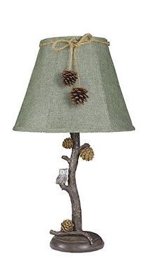 "AHS Lighting Pine Branch with Owl 24"" Table Lamp"