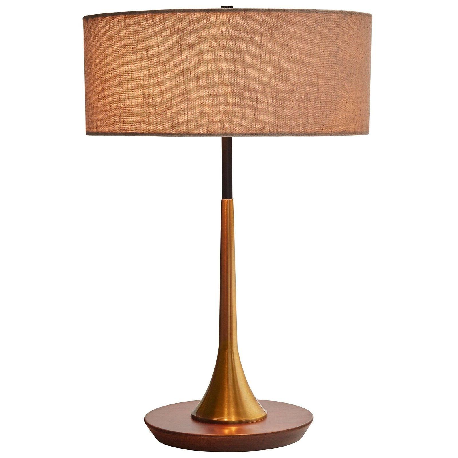 """Rivet Mid-Century Curved Brass Table Lamp, 21.7"""" H, Brass an"""