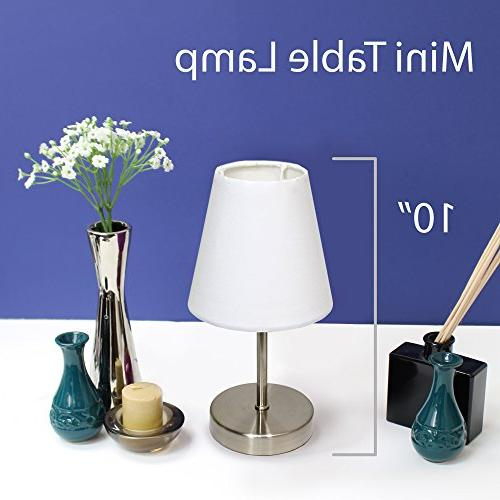 Simple Sand Mini Lamp with Fabric Shade 2-Pack Set