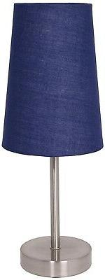 LightAccents Satin Steel Finish Table Lamp With Fabric Shade