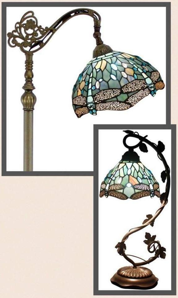 Set Deluxe Style Floor Table Lamp Dragonfly Victorian New