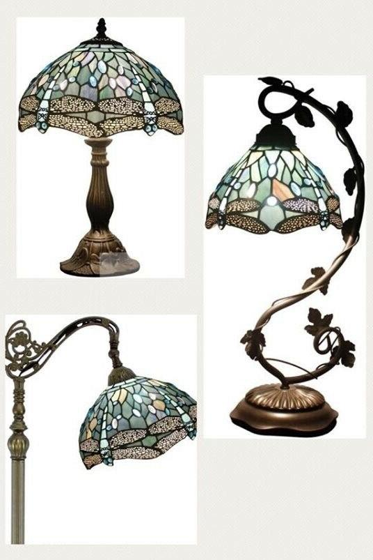 set deluxe tiffany style floor table lamp