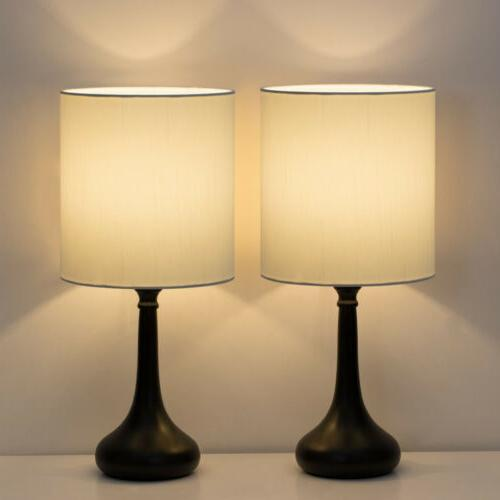 set of 2 bedside table lamp pair