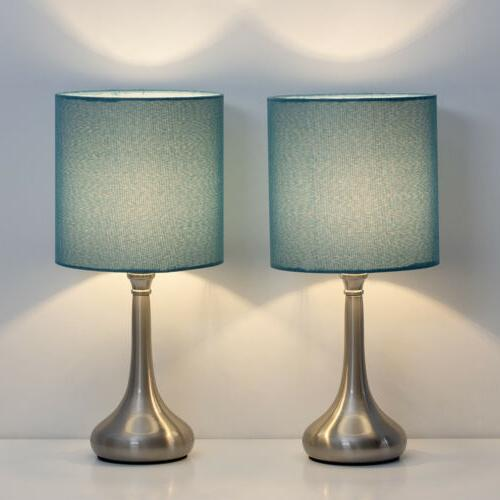 Set of 2 Bedside Table Lamps Modern Design Line Fabric Lamps